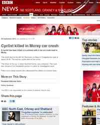 Cyclist killed in crash with car: BBC Local News